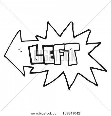 freehand drawn black and white cartoon left symbol