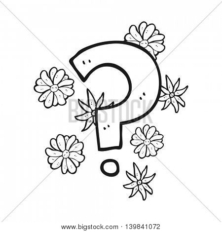 freehand drawn black and white cartoon question mark