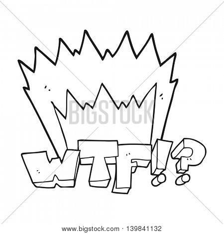freehand drawn black and white cartoon WTF symbol