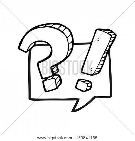 freehand drawn black and white cartoon question speech bubble