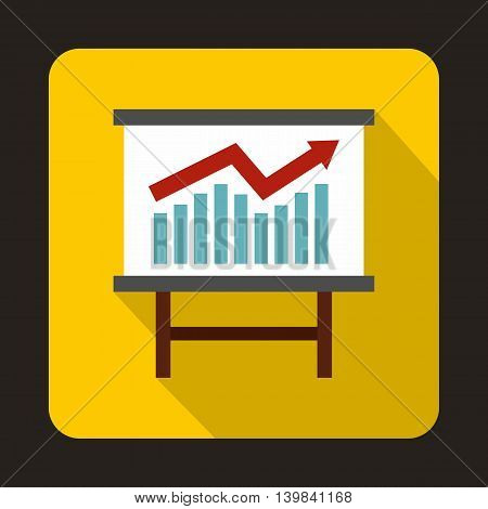 Growing chart presentation icon in flat style on a yellow background
