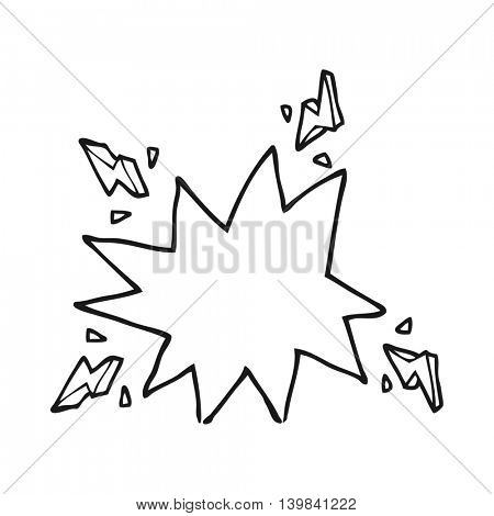 freehand drawn black and white cartoon electrical sparks