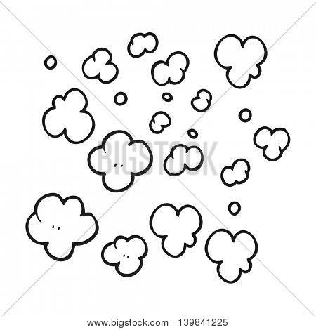freehand drawn black and white cartoon puff of smoke symbol