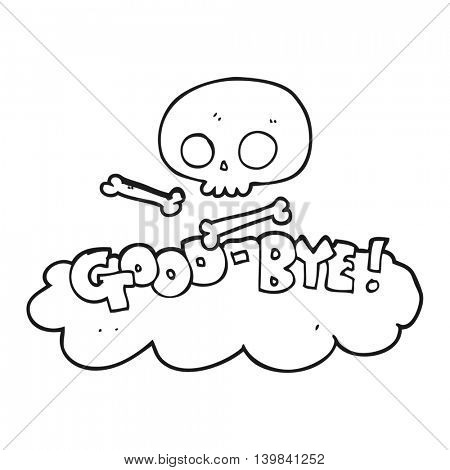 freehand drawn black and white cartoon good-bye symbol