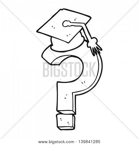 freehand drawn black and white cartoon graduation cap on question mark
