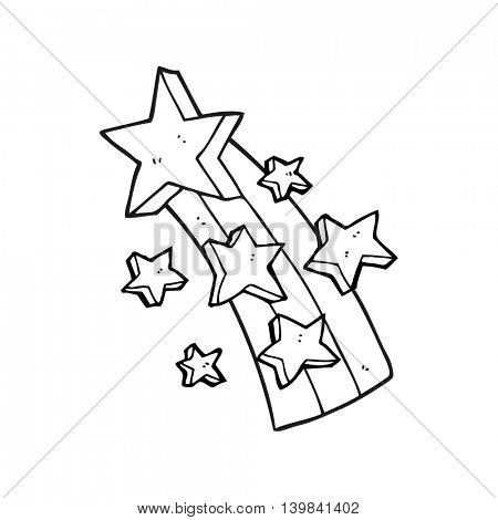 freehand drawn black and white cartoon shooting star