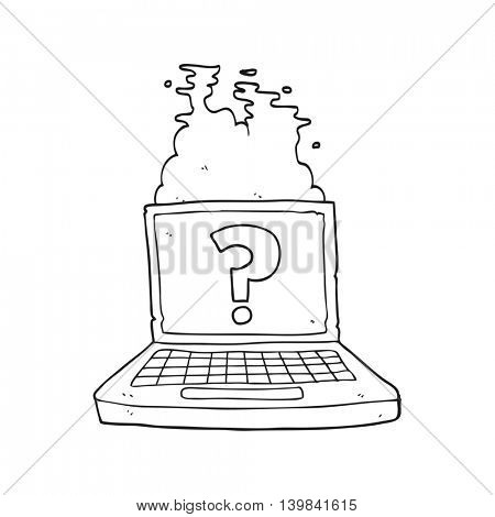 freehand drawn black and white cartoon internet search
