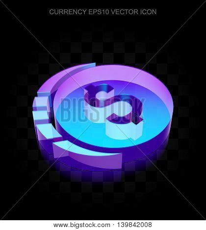Banking icon: 3d neon glowing Dollar Coin made of glass with transparent shadow on black background, EPS 10 vector illustration.
