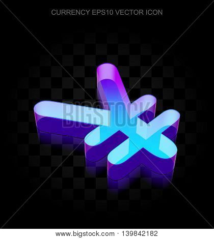 Currency icon: 3d neon glowing Yen made of glass with transparent shadow on black background, EPS 10 vector illustration.