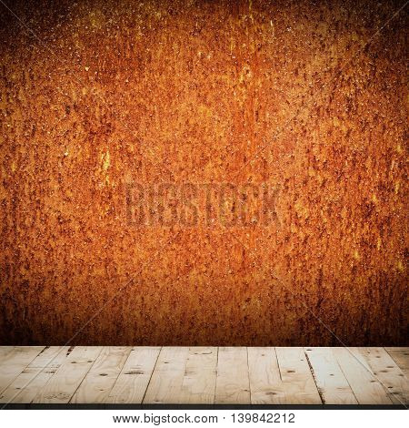 Grunge Orange Background And Wood Table For Halloween Background With Space
