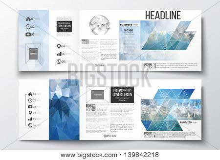 Set of tri-fold brochures, square design templates with element of world globe. Abstract blue polygonal background, colorful backdrop, modern stylish vector texture.