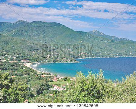 View to Beach and Village of Procchio on Elba Island,Tuscany,mediterranean Sea,Italy