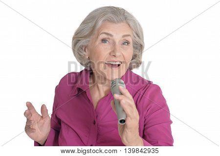 Senior singer woman portrait on white background