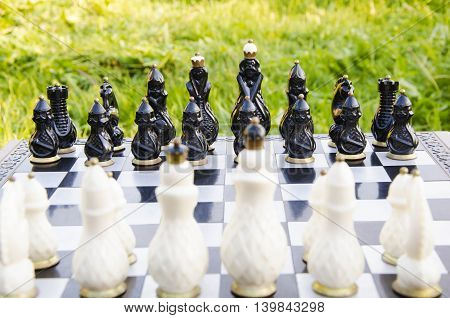 Tournament competition on chess in the open air in park