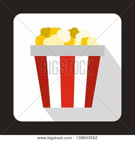Popcorn in striped bucket icon in flat style on a white background