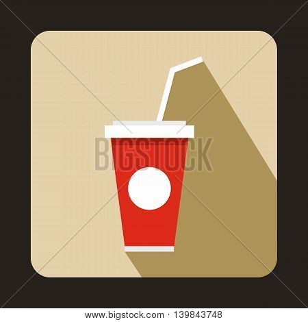 Soft drink in a red paper cup with lid and straw icon in flat style on a beige background