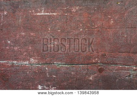 Vintage wooden planks painted in red. Paint is weathered