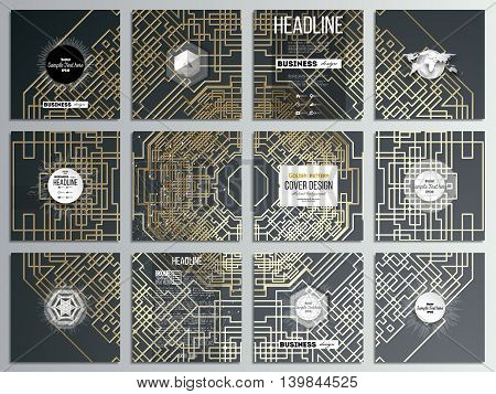 Set of 12 creative cards, square brochure template design. Golden technology pattern on dark background with connecting lines and dots, connection structure. Digital scientific vector.