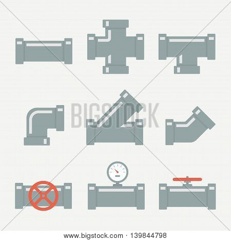 Pipe fittings vector set icons isolated from the background. The elements of the pipeline or drainage system in flat style. Pipe system designer.