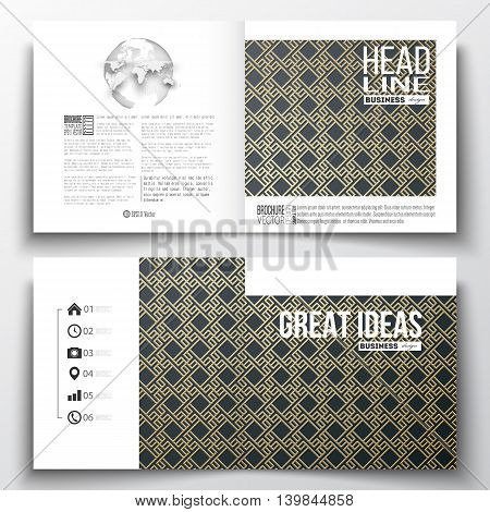 Set of annual report business templates for brochure, magazine, flyer or booklet. Islamic gold pattern with overlapping geometric square shapes forming abstract ornament. Vector golden texture
