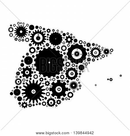 Spain map silhouette mosaic of cogs and gears. Black vector illustration on white background.