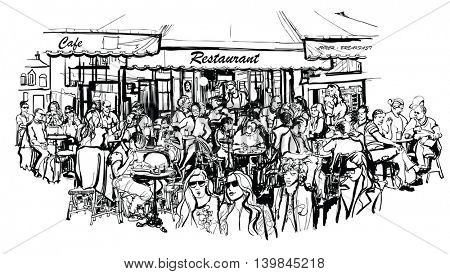Customers at traditional outdoor Parisian cafe - Vector illustration