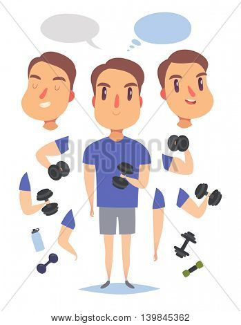 Active fitness man lifts weights and exercises. Pack of body parts, emotions and equipment. Vector character illustration in cartoon style.
