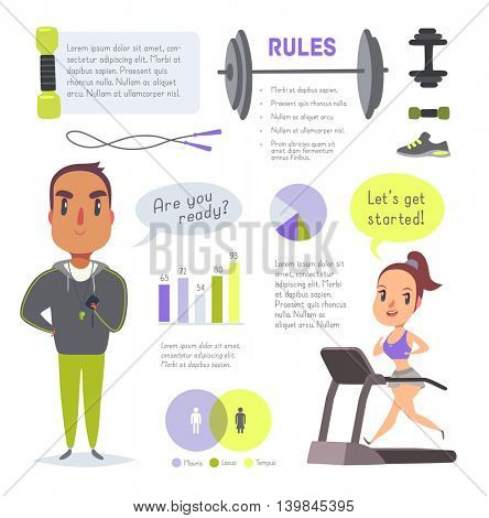 Sports and gym vector infographics. Pack of design elements and characters in cartoon style.