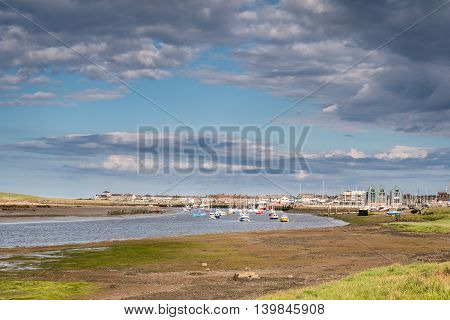 River Coquet flows passed Amble Harbour, where it meets the sea