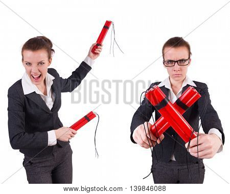 Woman businesswoman with dynamite stick isolated on white