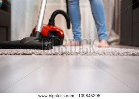 Home carpet and floor cleaning in living room