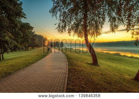 Birstonas resort promenade in the evening at sunset