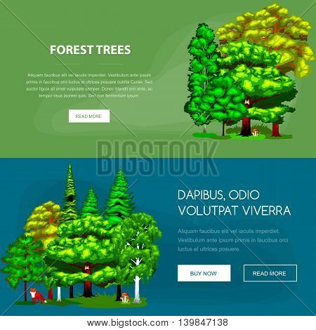 Forest green trees on the grass bush in summer landscape background. Nature landscape design elements isolated with green trees, grass bush and animals. Isolated ecology natural wood trees set