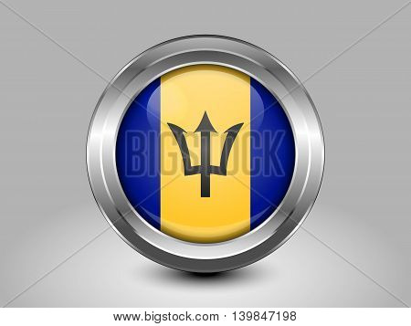 Flag Of Barbados. Metal And Glass Round Icon