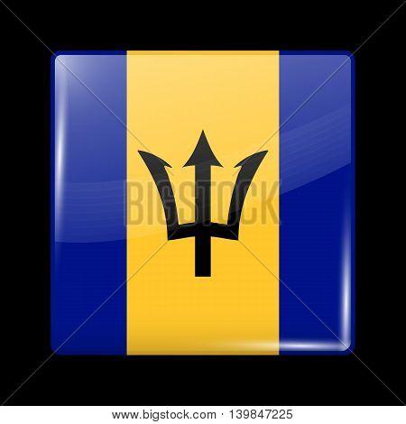 Flag Of Barbados. Glossy Icon Square Shape