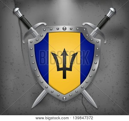Flag Of Barbados. The Shield Has Flag Illustration. Vector Medieval Background