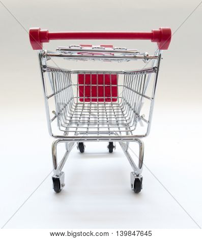 shopping cart rear view on white background