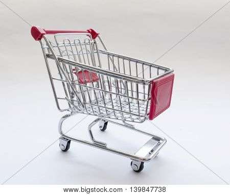 shopping cart with red details on white