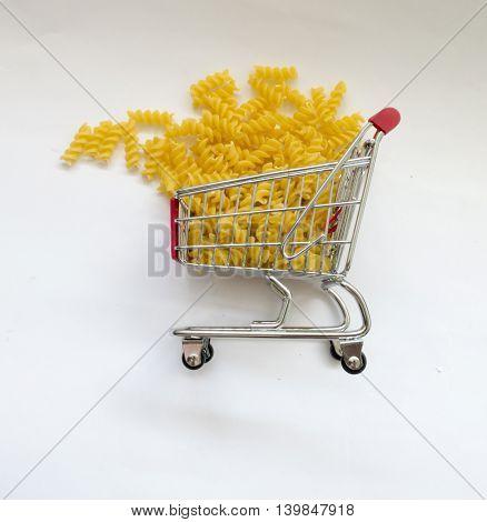 Shopping cart pasta on white background 2