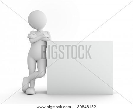 Toon man standing with blank banner, billboard, your advertisement. 3D illustration