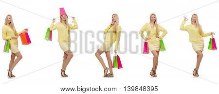 Collage of woman with shopping bags