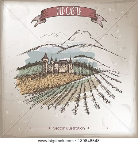 Color vineyard, castle and mountain landscape hand drawn vector sketch placed on grunge background. Great for vine and travel ads, brochures, labels.
