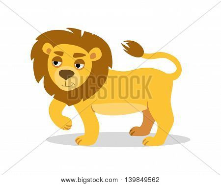 cute lion on a white background. Vector graphics