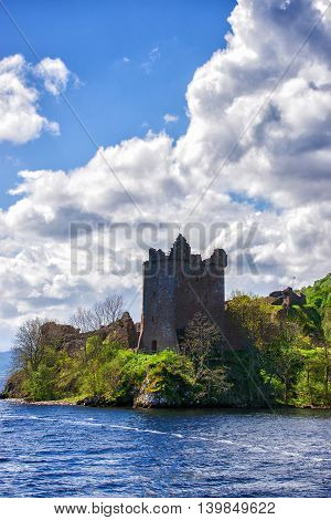Grand Tower Of The Urquhart Castle In Loch Ness In Scotland