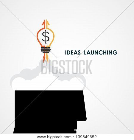 Human head and rocket icon.Ideas and business launching icon.Business start up icon concept.Vector illustration