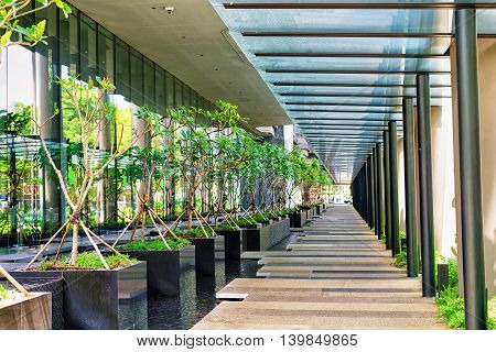 Modern Architecture Of A Building Terrace In Singapore