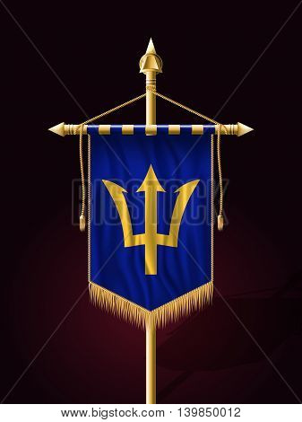 Flag Of Barbados. Festive Banner Vertical Flag With Flagpole