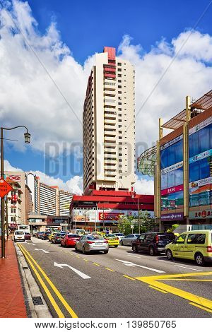 Upper Cross Street And Car Traffic In Singapore China Town