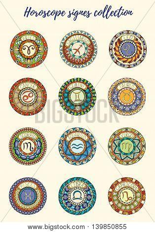 Zodiac signs theme. Set of mandalas with libra zodiac signs. Zentangle inspired mandalas. Hand drawn tribal mandala horoscope symbols for tattoo art printed media design stickers etc.
