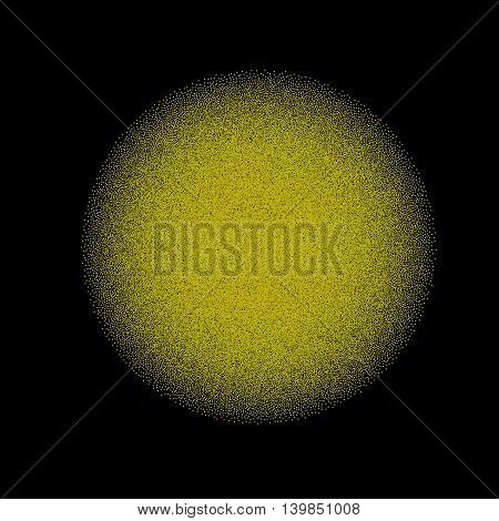 A sphere made of small dots over a black background